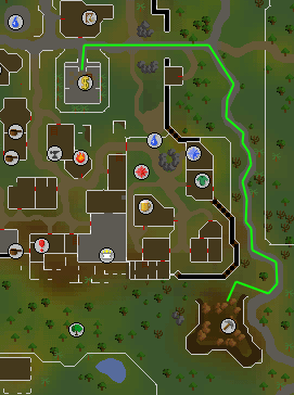 Map of route from Varrock east mine to bank