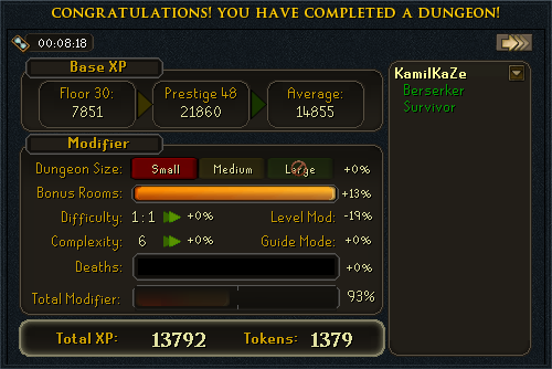 XP Screen at the end of a dungeon