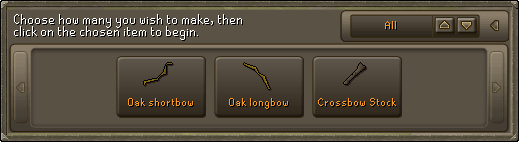 Choose how many you wish to make, then click on the chosen item to begin.