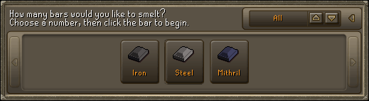 How many bars would you like to smelt? Choose a number, then click the bar to begin.