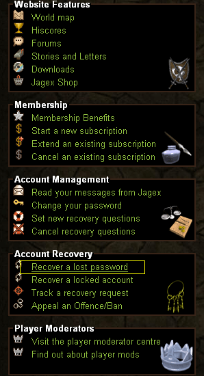 "Click on the ""recover a lost password link on the RuneScape homepage"
