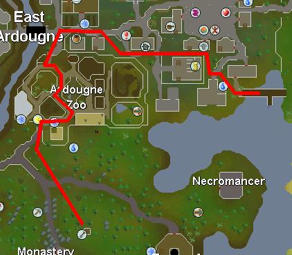 Map from Ardougne dock to bush patch