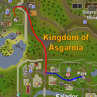 Map from Falador to fruit tree patch