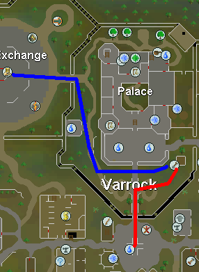 Map from Varrock Center to Grand Exchange