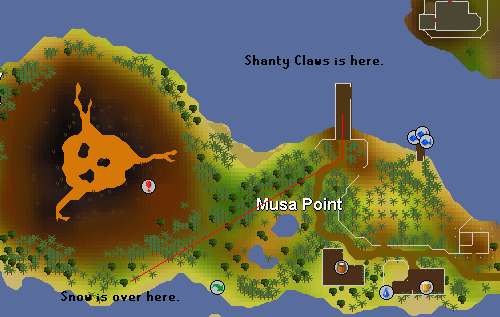 A map to the snowy area