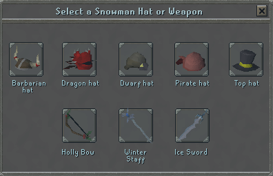 Select a snowman hat or weapon