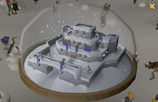 Inside the snowglobe is a miniature Lumbridge castle