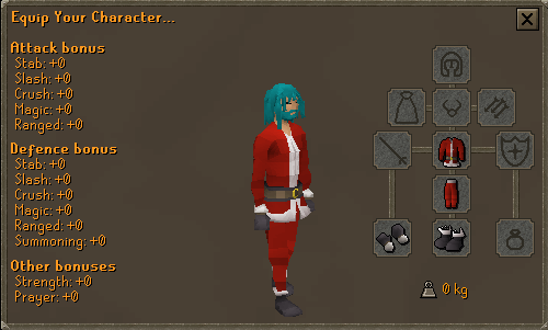 Santa suit equipment screen