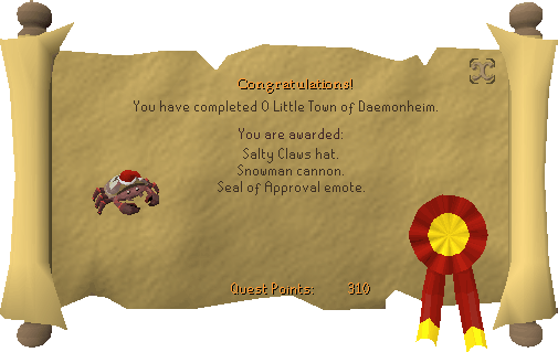 Congratulations! You have completed O Little Town of Daemonheim.