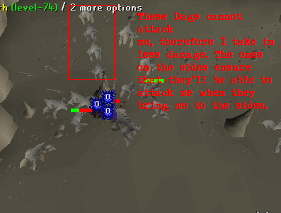 The dagannoths will all get caught around the pillar!