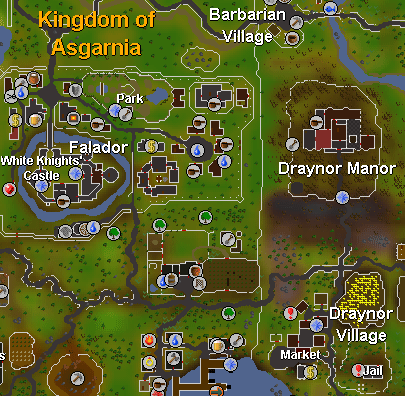 Draynor Village is located southeast of Falador (bottom-right corner in this map).