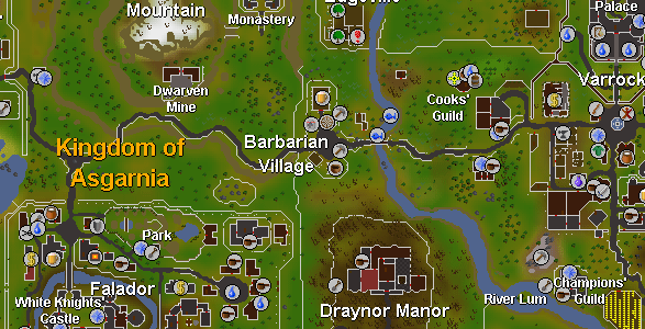 Falador is located just southwest of Barbarian Village (bottom-left corner of this map).