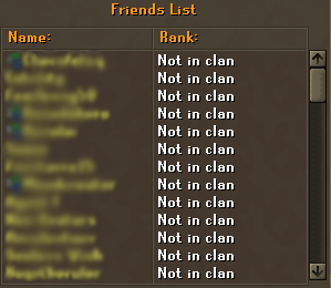 The Friends Chat friends list allows you to assign ranks by clicking on names