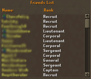 The friends list has now had ranks assigned to some players
