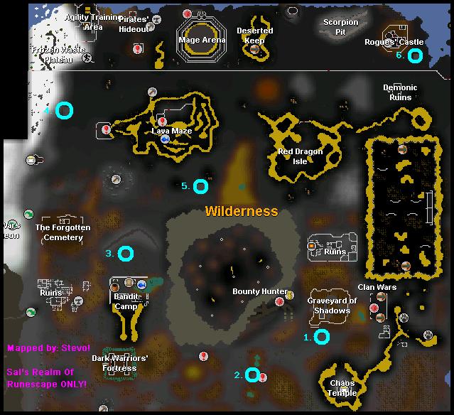 Map of Wilderness Obelisk locations