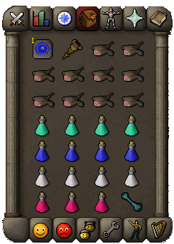 Suggested inventory for the melee method