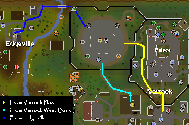 A map of routes to the grand exchange in varrock