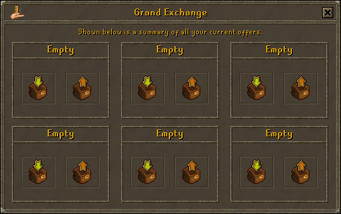 An empty exchange screen