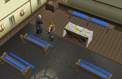 Father Aereck is in the church of Lumbridge