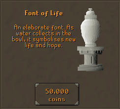 Font of Life - An elaborate font. As water collects in the bowl, it symbolises new life and hope.