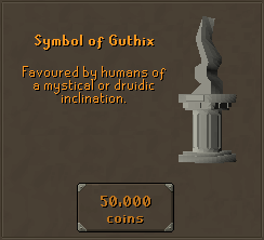 Symbol of Guthix - Favoured by humans of a mystical or druidic inclination.