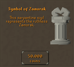 Symbol of Zamorak -  This serpentine sigil represents the ruthless Zamorak.