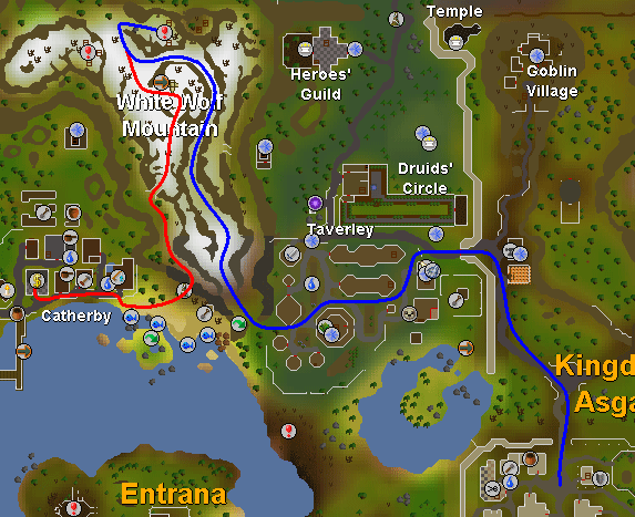 Routes to the white wolf mountain dungeon