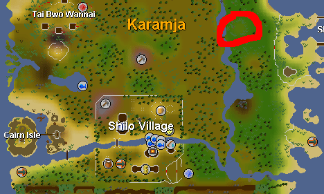 Map of locations - northeast of Shilo Village