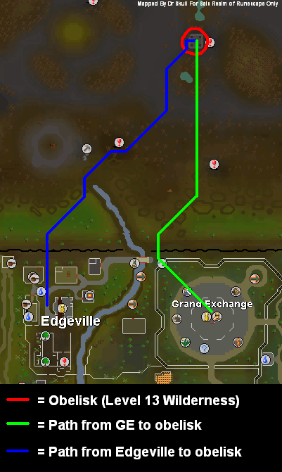 Route to the obelisk in level 13 wilderness