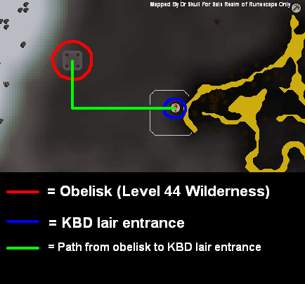 Route from the obelisk teleport location to the lair