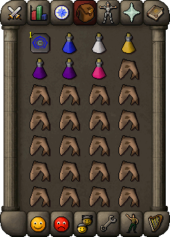 Suggested inventory for melee players