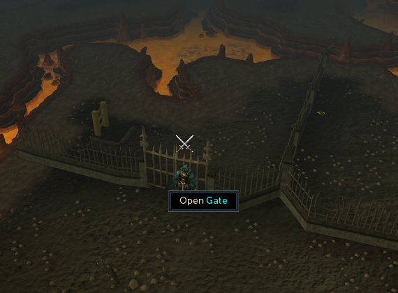 The entrance to the lava maze dungeon