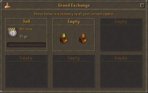 Using the Grand Exchange to buy air runes