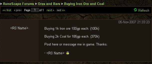 Posting in the official RuneScape forums