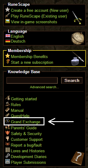 Grand exchange link on the RS homepage
