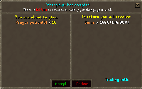 Trading prayer potions for money