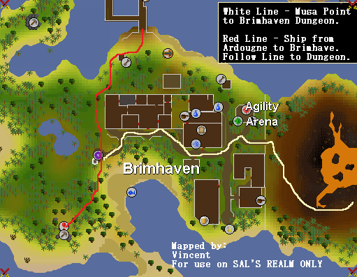 A map of routes to the Brimhaven Dungeon