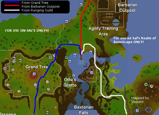 Map of routes to Ancient Cavern