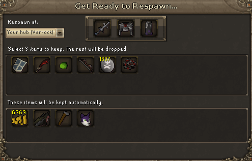 Select 3 items to keep. the rest will be dropped.