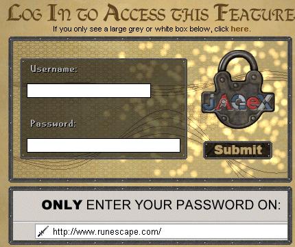 The RuneScape login screen