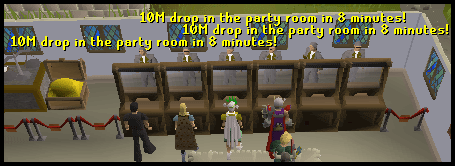 The falador bankers announcing a drop party!