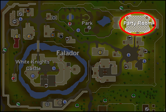 A map of the party room's location in falador