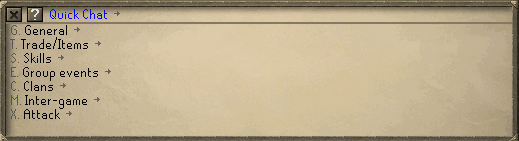 The quick chat interface