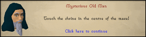 Mysterious Old Man: Touch the shrine in the centre of the maze!