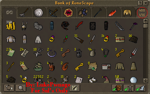 A sample bank screen with 496 total slots