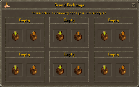 Six available slots in the Grand Exchange