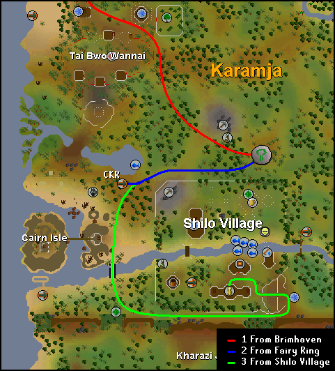 Routes to the nature altar north of Shilo Village