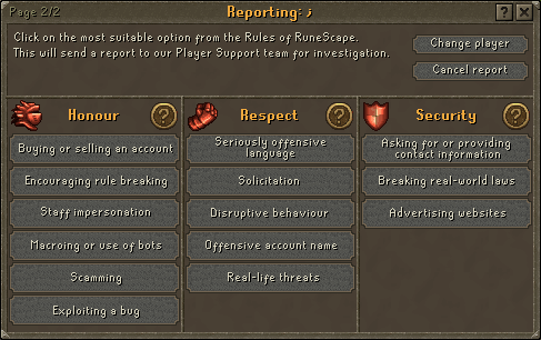 Click on the most suitable option from the Rules of RuneScape.