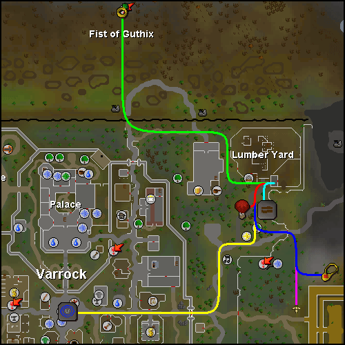 Map of routes to the Varrock Sawmill