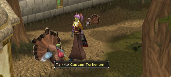 Talk to Captain turkerton to begin the Thanksgiving Event